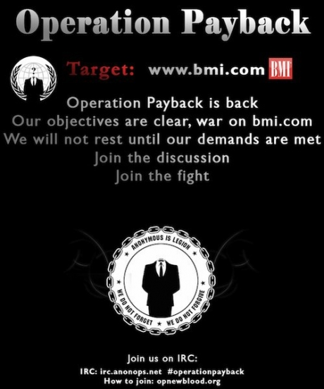 'Anonymous' hacker group attacks BMI website over file-sharing stance, BMI retaliates by leaking their debut album Hack'n & Sack'n