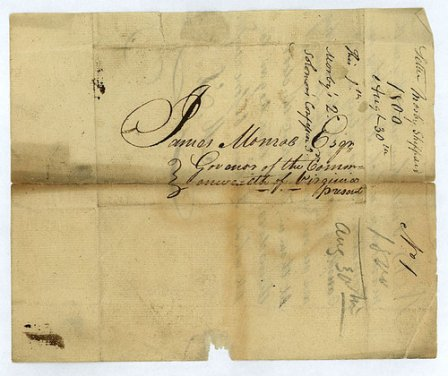 Letter addressed to Va. Governor James Monroe, August 30, 1800, by Mosby Sheppar