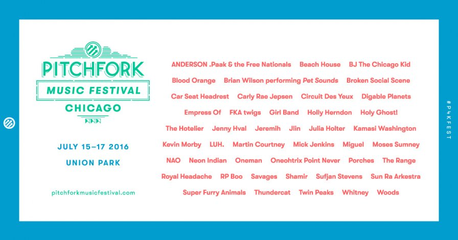 pitchfork music festival announces 2016 lineup | music news | tiny