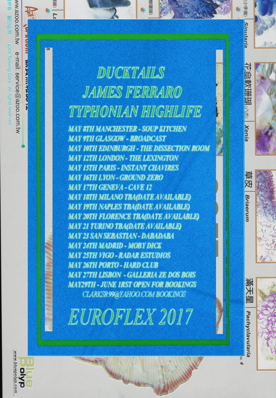 "Ducktails, James Ferraro, Typhonian Highlife combine forces for Awesome, Retro-future, Dayglo Euro Tripp (fka ""a tour of Europe"")"
