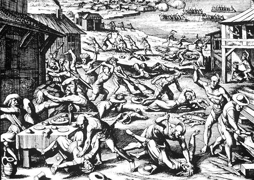 Indian massacre of 1622, depicted as a woodcut by Matthaeus Merian, 1634.