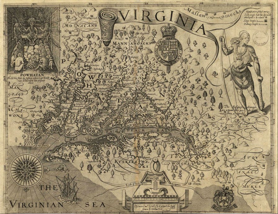 John Smith's 1612 map of Virginia. Oriented with west at the top.