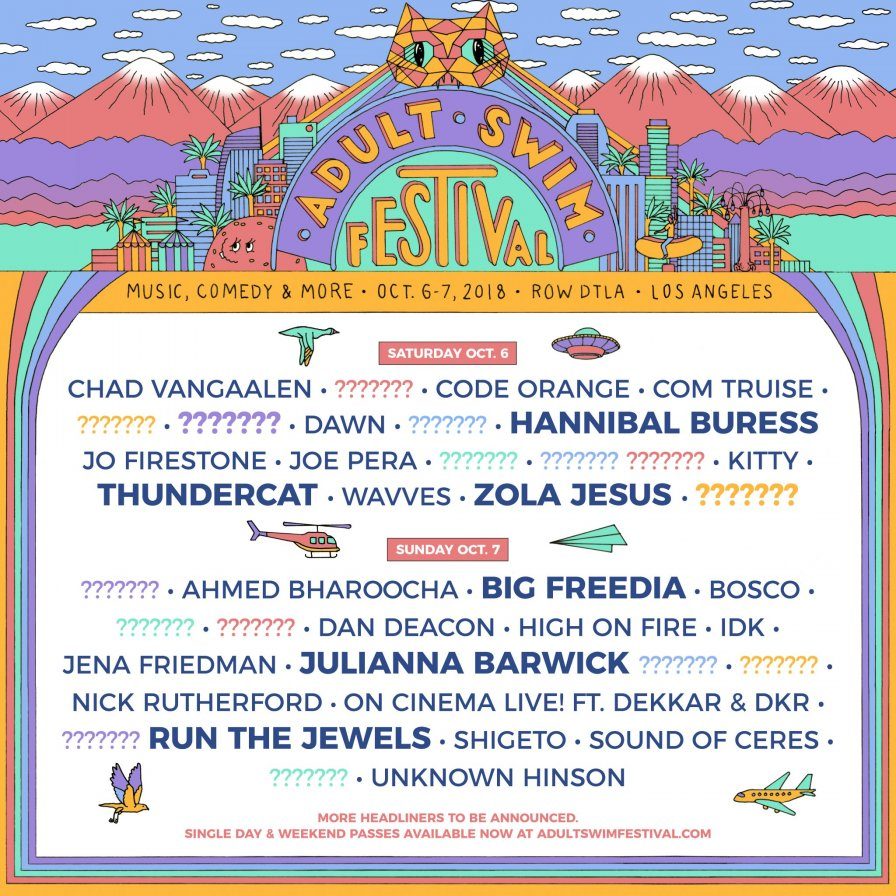 Adult Swim announces first ever Adult Swim Festival, feat. DAWN, Zola Jesus, Run the Jewels, Thundercat, and ???????