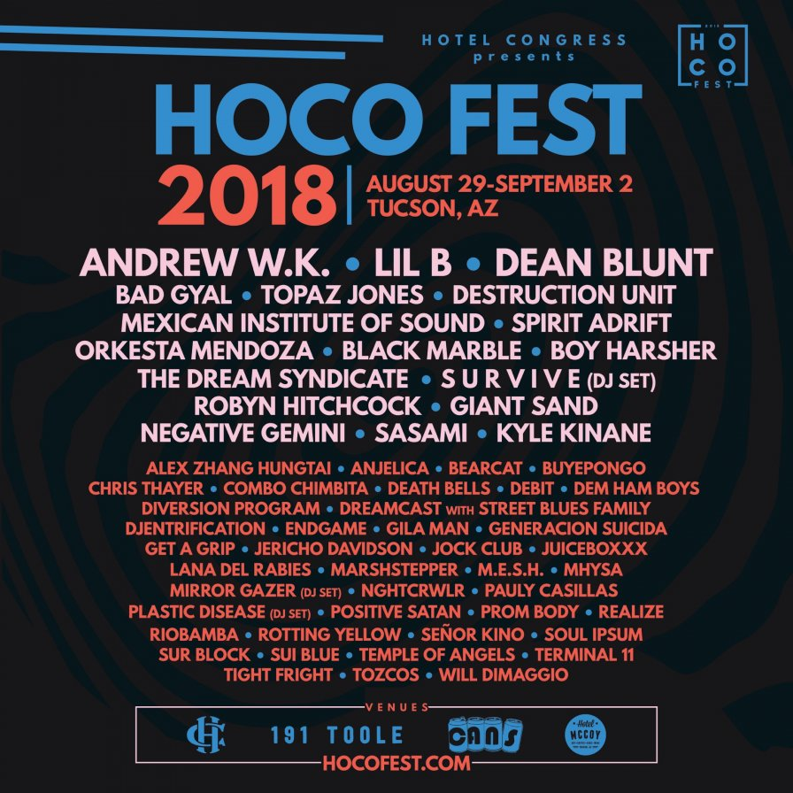 Dean Blunt, M.E.S.H., Lil B, Bad Gyal, and more to visit Arizona for HOCO Fest 2018, stay because the airport is a desert miraaaage