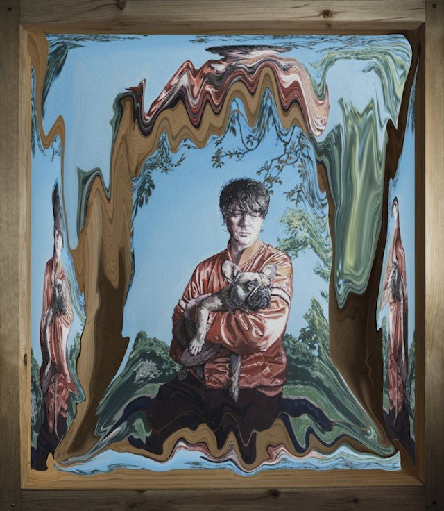 Don't let this amazing painting of Panda Bear holding a french bulldog distract you from the announcement of his new album Buoys