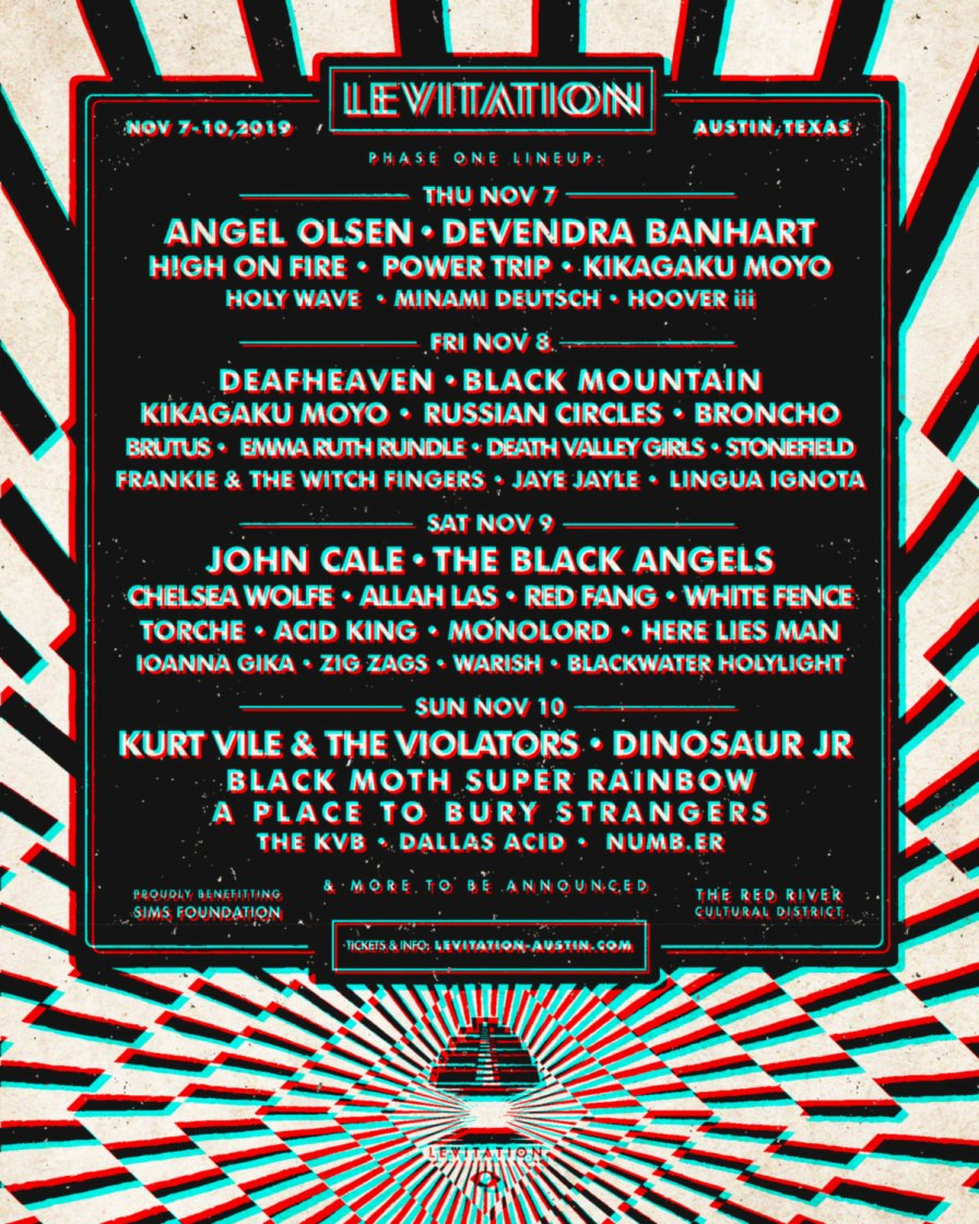 Levitation 2019 announces phase one lineup; John Cale, Dinosaur Jr., Angel Olsen, High On Fire, and Kurt Vile to play Austin fest in November