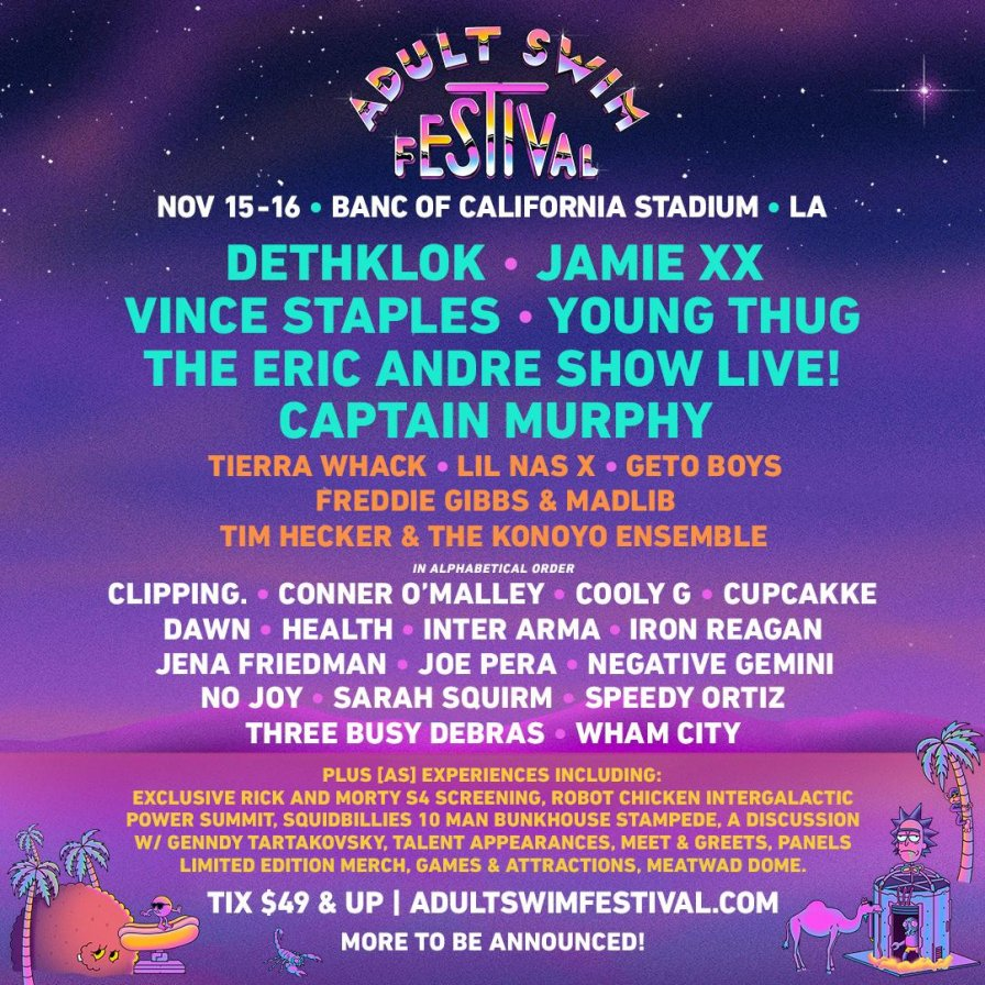 Second annual Adult Swim Festival to feature Young Thug, Captain Murphy, cupcakKe, clipping, and more