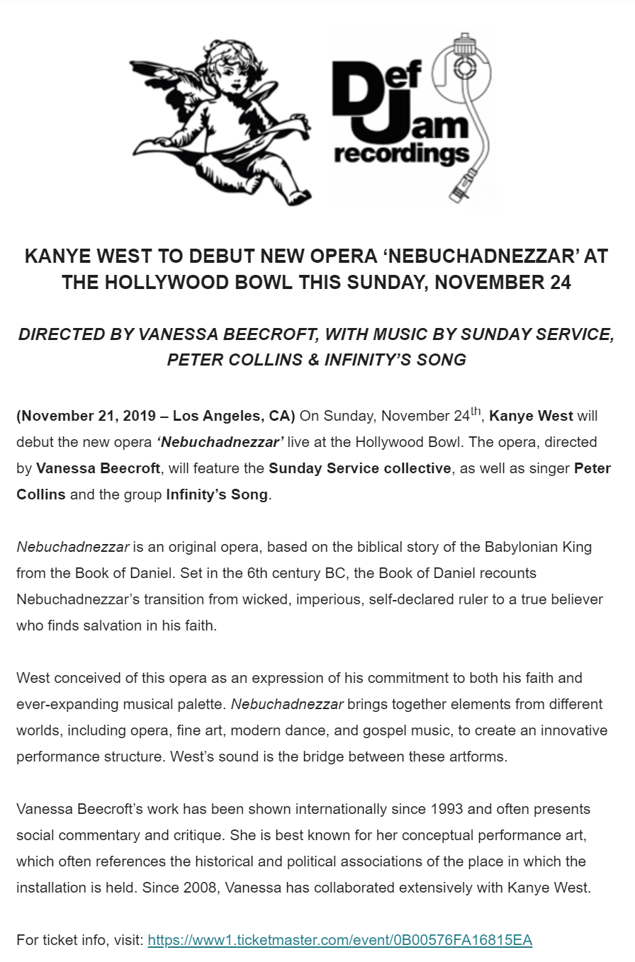 Kanye West details the FUCK out of his first-ever opera Nebuchadnezzar