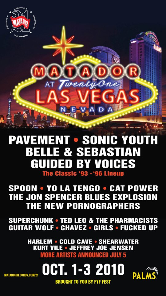 Matador celebrates 21st anniversary in Las Vegas with Pavement, Sonic Youth, Belle & Sebastian, a reunited Guided by Voices, and more